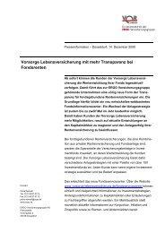 Vorsorge Lebensversicherung mit mehr Transparenz bei ... - Anbieter