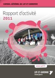 Rapport d'activité - Le site du conseil général du Lot-et-Garonne