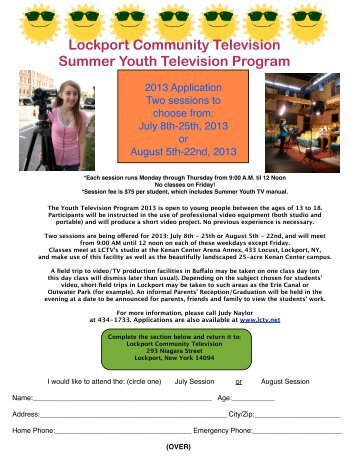 an application - Lockport Community Television