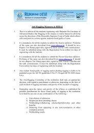 Anti Ragging Measures at RDIAS - Rukmini Devi Institute of ...