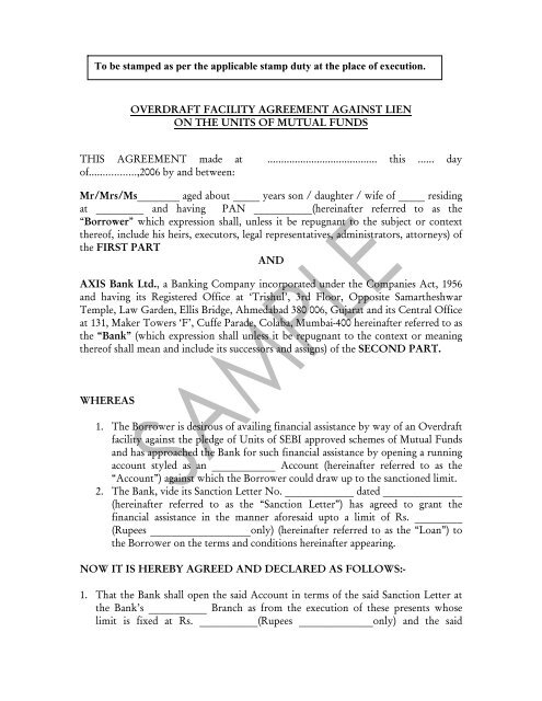 Loan Against Mutual Funds Agreement Axis Bank