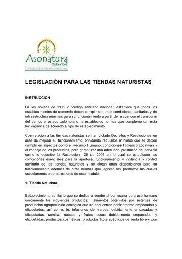 legislación para las tiendas naturistas - Asonatura