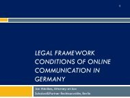 LEGAL FRAMEWORK CONDITIONS OF ONLINE ... - Jan Mönikes
