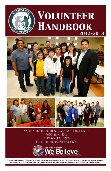 volunteers handbook - Ysleta Independent School District