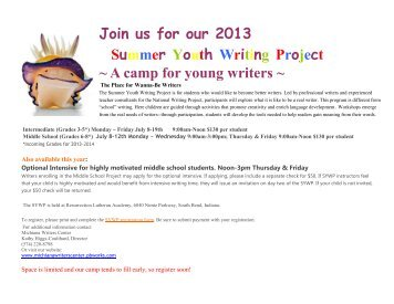Join us for our 2013 Summer Youth Writing Project ~ A camp for ...