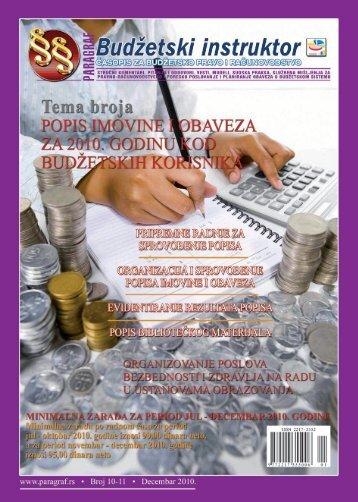 Paragraf Budžetski instruktor • br. 10-11 • decembar 2010.