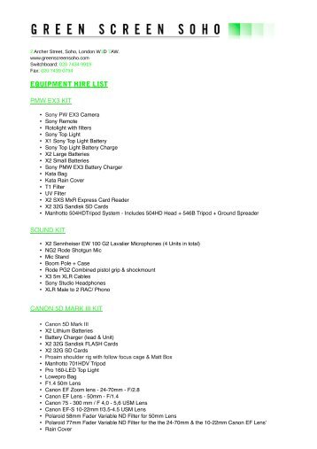 equipment hire list - Green Screen Soho