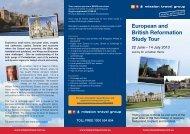 European and British Reformation Study Tour 2013 - Mission Travel