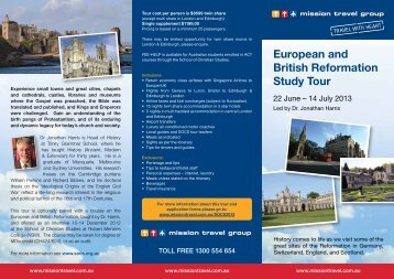 European and British Reformation Study Tour 2013 - Mission Travel