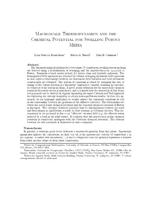 Macroscale Ther od#na ics and the 3he ical Potential Aor ... - CCM