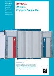 Von 0 auf 32. Basic Line WC-/Dusch-Container Maxi.