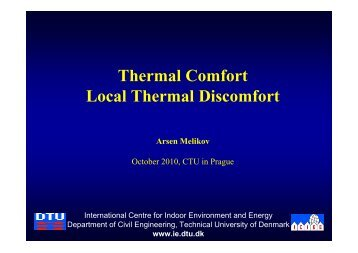 Thermal Comfort Local Thermal Discomfort