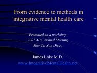 From evidence to methods in integrative mental health care