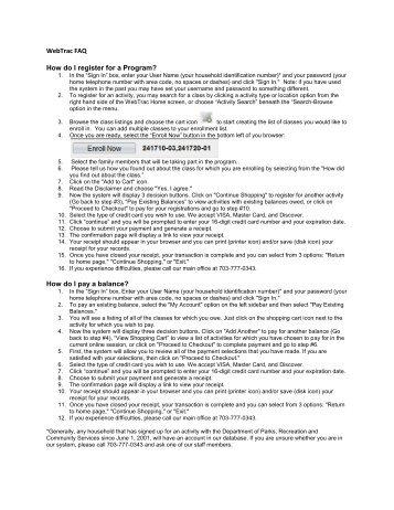 WebTrac FAQ How do I register for a Program? How do I pay a ...