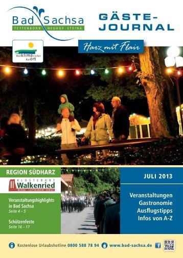Gästejournal Juli 2013 - Samtgemeinde Walkenried