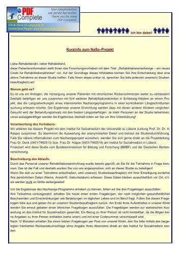Kurzinformationen Kontrollgruppe - Chronische Krankheiten und ...