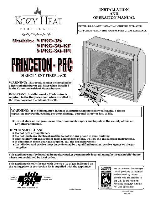Marvelous Kozy Heat Princeton Install Manual Brock White Complete Home Design Collection Barbaintelli Responsecom