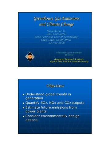 Greenhouse Gas Emissions and Climate Change Objectives