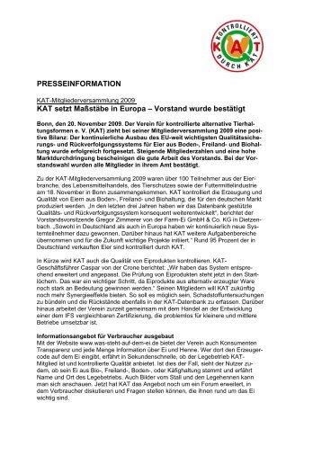 PRESSEINFORMATION KAT setzt Maßstäbe in Europa – Vorstand ...