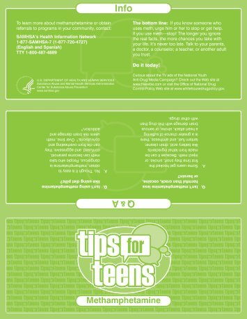 Tips for Teens-Methamphetamine - SAMHSA Store