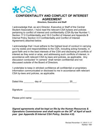 Confidentiality And Conflict Of Interest Agreement Ibc Member Version