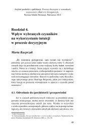 Rozdział 4. Wpływ wybranych czynników na wykorzystanie intuicji w ...