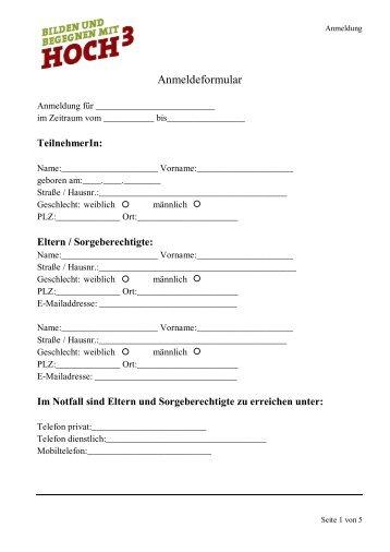 Teilnehmer-Pass für Ferienfreizeiten mit der