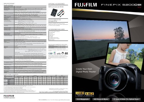 SPECIFICATIONS OPTIONAL ACCESSORIES - Fujifilm