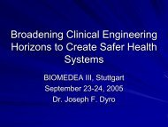 Broadening Clinical Engineering Horizons to Create ... - biomedea