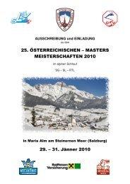 25. ÖSTERREICHISCHEN – MASTERS MEISTERSCHAFTEN 2010 ...