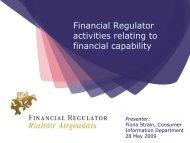 Financial Regulator activities relating to financial capability - Fininc.eu