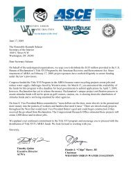 Letter to Ken Salazar - Title XVI Funds - WESTCAS