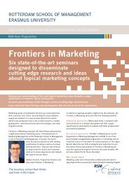 Frontiers in Marketing - Rotterdam  School of Management