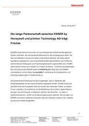 Die lange Partnerschaft zwischen ESSER by Honeywell und primion ...