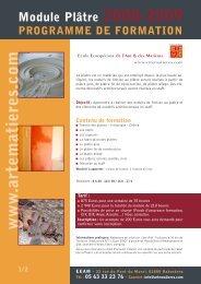 Module Plâtre 2008-2009 PROGRAMME DE FORMATION w w w ...