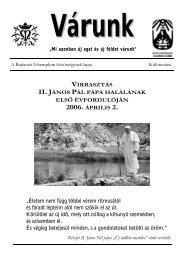 II. János Pál pápa halálának 1. évfordulója (PDF - 246 KB)