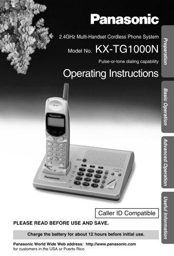 KXTG1000N - Operating Manuals for Panasonic Products - Panasonic