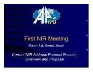 First NIR Meeting - apnic