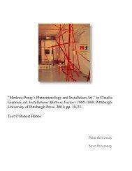 Merleau-Ponty's Phenomenology and Installation Art - Robert Hobbs