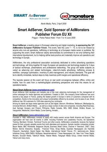 Smart Adserver, Gold Sponsor of Admonsters Publisher Forum EU XII