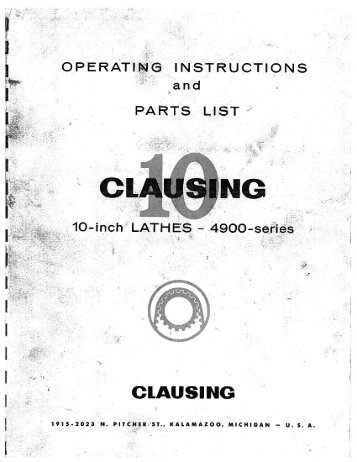 Clausing 10in Lathe 4900 Series Parts List & Exploded Drawings
