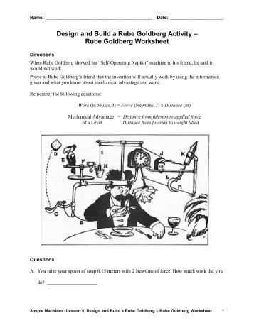 Rube Goldberg Worksheet – Answers - Teach Engineering