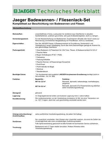 Jaeger Badewannen- / Fliesenlack-Set