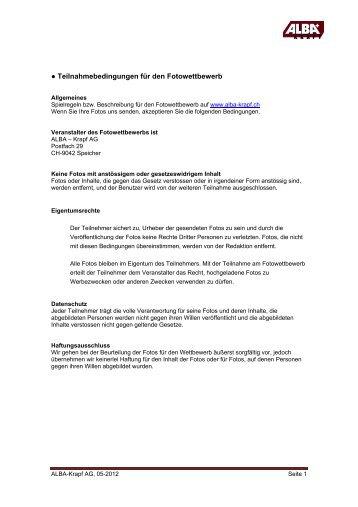 Teilnahmebedingungen für den Fotowettbewerb - Alba Krapf AG