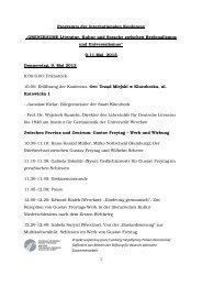 """Programm der internationalen Konferenz """"GRENZRÄUME-Literatur ..."""