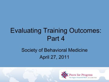 Evaluating Training Outcomes: Part 4 - Peers For Progress