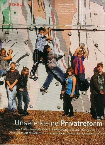 """Focus Schule Ausgabe 2/2010: """"Unsere kleine Privatreform"""