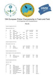 15th European Police Championship in Track and Field - USPE