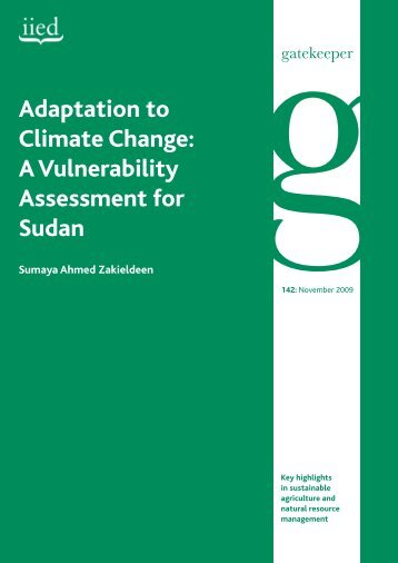 Adaptation to Climate Change: A Vulnerability Assessment for Sudan