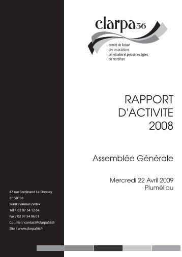 RAPPORT D'ACTIVITE 2008 - clarpa